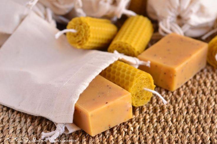 Bolsitas naturales con jabones y velas de miel detalles para boda r stica el jab n casero - Velas de miel ...