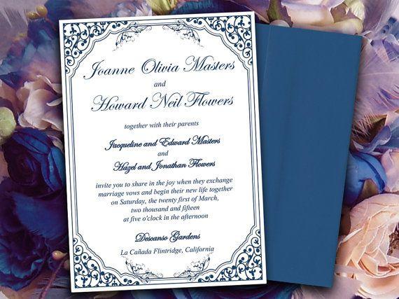Vintage Vines Lavanderia Wedding Invite by PaintTheDayDesigns