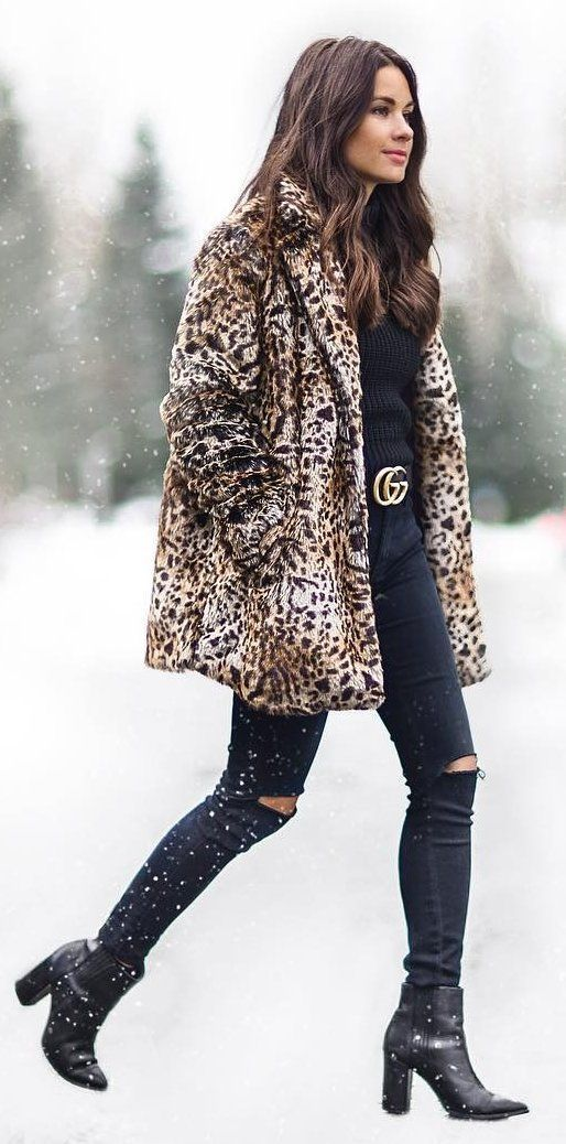 #winter #fashion /  Leopard Coat + Destroyed Skinny Jeans
