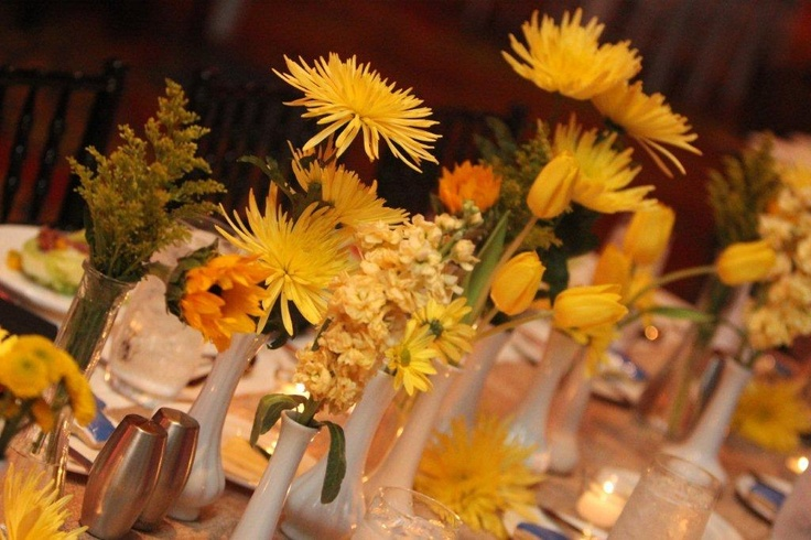 Yellow flower centerpieces