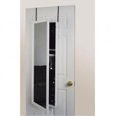 Mirrotek White Framed Wall or Door Jewelry Armoire Mirror in White - JA1448WT