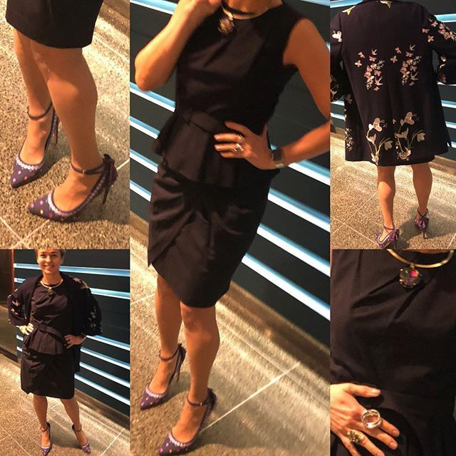 Board day today so I was combining demure navy blue, but with an unusual skirt shape and peplum belted top from #pauw #pauwamsterdam @maralynfisher #saksfifthavenue #saks a navy oversized jacket with flower embroidery from #tedbaker and a pair of navy heels with flower embroidery and large bow detail from #lkbennettlondon #lkbennett accessorised with beautiful #lisacorboaccessories #georgectoronto large silver ring a colourful choker and #bittersweet and #montereggioni rings #mystyle…