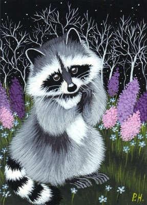 ACEO Print Raccoon Flowers Grass | eBay