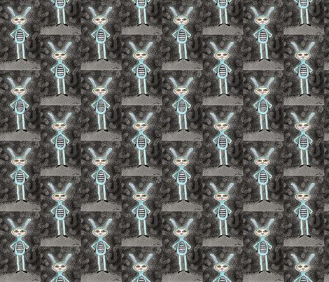 Bunnikin Black fabric by dkmag on Spoonflower - custom fabric