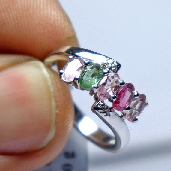 Solid 925 Sterling Silver Fashion Jewelry Natural Multi Tourmaline Gemstone Ring Size 6