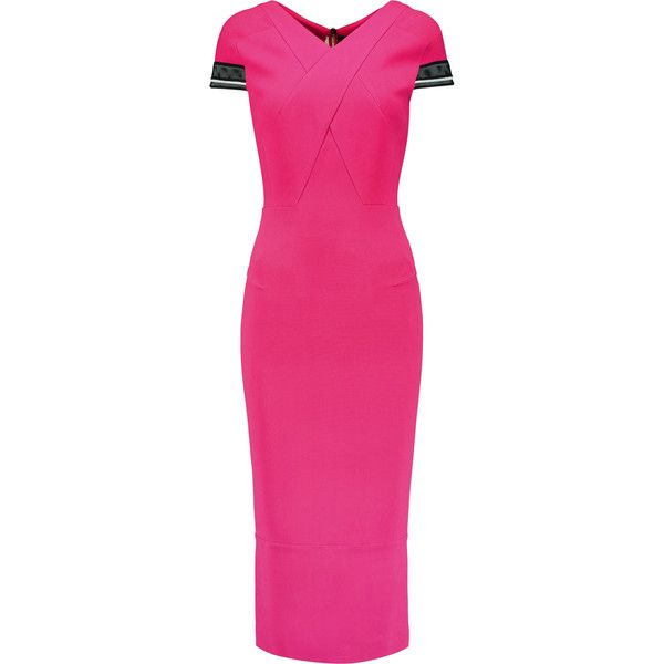 Roland Mouret Gibson mesh-trimmed crepe midi dress ($875) ❤ liked on Polyvore featuring dresses, fuchsia, fuschia dress, pink dress, fuschia pink dress, midi dresses and zipper dress