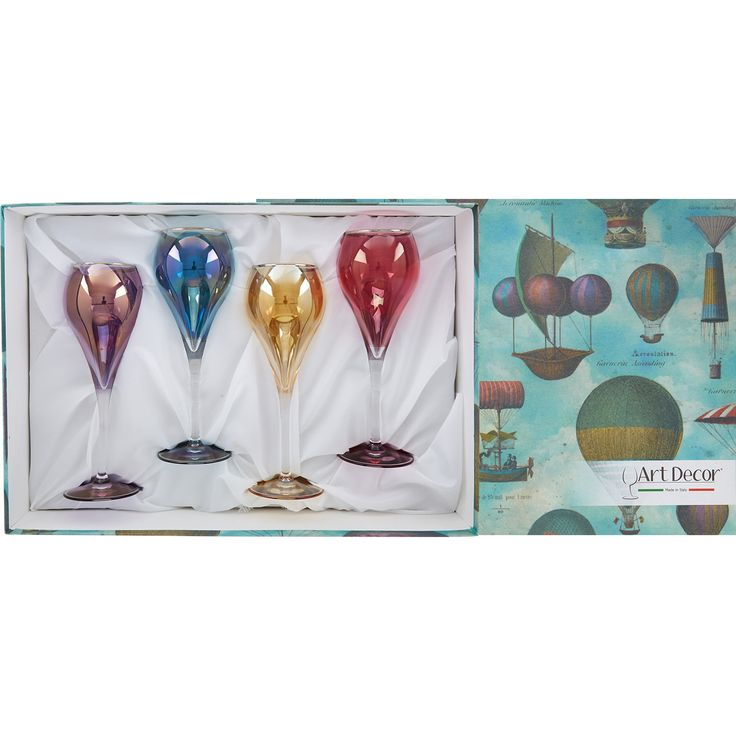 """Art Decor"" Set Of Four Multicoloured Flute Glasses - TK Maxx"