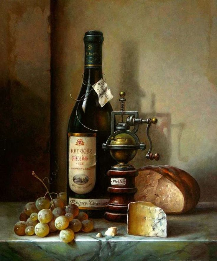 Zoltan Preiner (b.1955) — Still Life with Riesling, Cheese and Grapes (900x1081)
