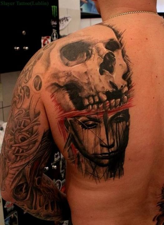 Half Skull Half Face Tattoo For Girls Half Skull And Half Face of a
