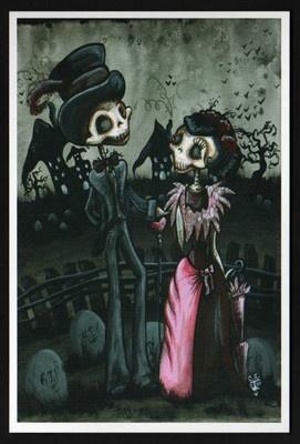 dia de los muertos day of the dead skeleton goth art outsider 4x6 print gothic | eBay