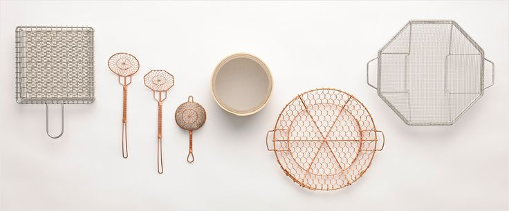 Japanese wire-netting kitchen implements. Used for straining tea, serving tofu, and sifting powders, they are carefully made by hand in the time-honored tradition.