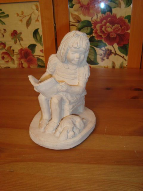 Vintage Austin Sculpture Bright Eyes 1987 Signed Dee Crowley Girl Reading to Dog