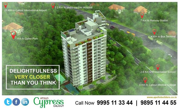 Delightfulness very closer than you think,   Aesthetically designed 64 luxury apartments in 16 Floors.  Apollo Cypress, Luxury Flats In Calicut  Book now: 9895 11 44 55 | 9995 11 33 44  https://goo.gl/BnmrGL  #Apollo_cypress #apollo_builders #flats_in_calicut #flats_in_kozhikode#luxury_homes #dream_homes near #Cyberpark_calicut.#kozhikode
