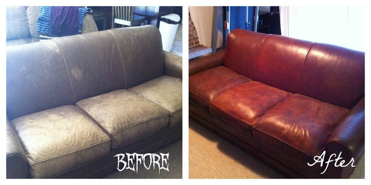 The Crandall Family: The Couch  Wow, what a transformation of her leather couch.  Nice job!