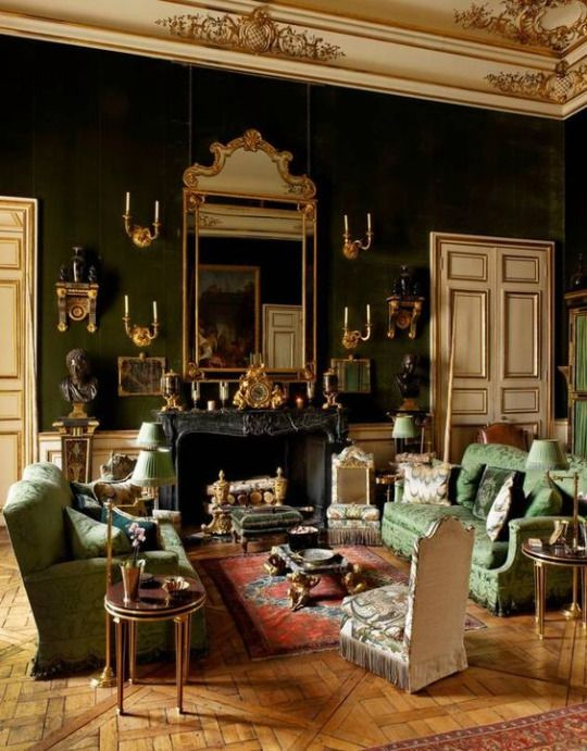 Room of the Day ~ 11.13.2016 - The dusky tones and flashes of gold that recur throughout fashion designer Hubert De Givenchy's Green Salon in Paris keep the room's décor from looking too haphazard and busy.