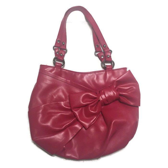 a845fd752d12 Nine West Deep Pink Satchel Handbag Bow Detail Soft Faux Leather ...