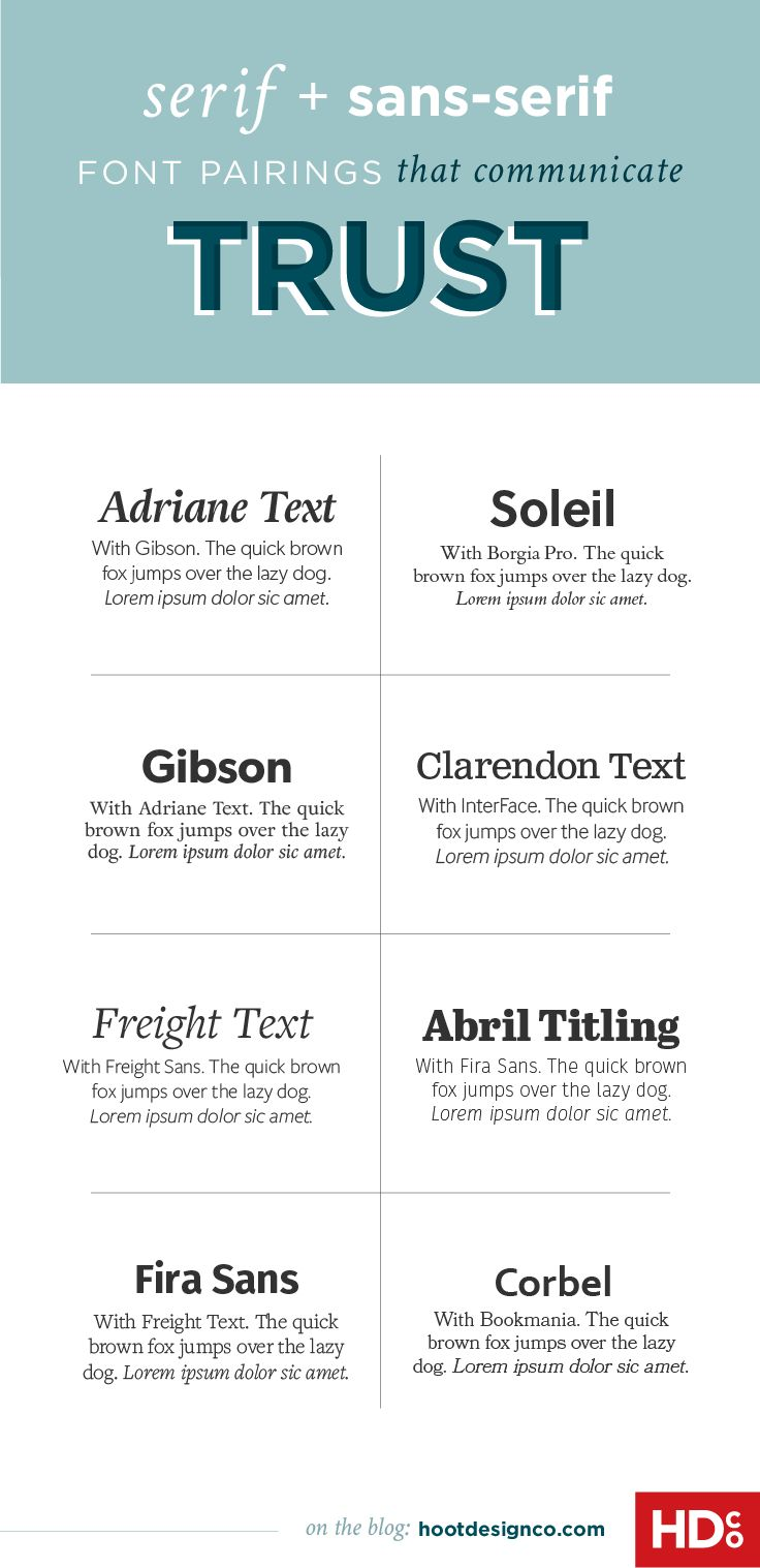 Font pairings communicate trust by using balanced proportions, steady shapes and stable balance. These 8 pairings are all extremely trustable and would be great for magazines and newspapers in addition to business marketing materials. | Hoot Design Co.
