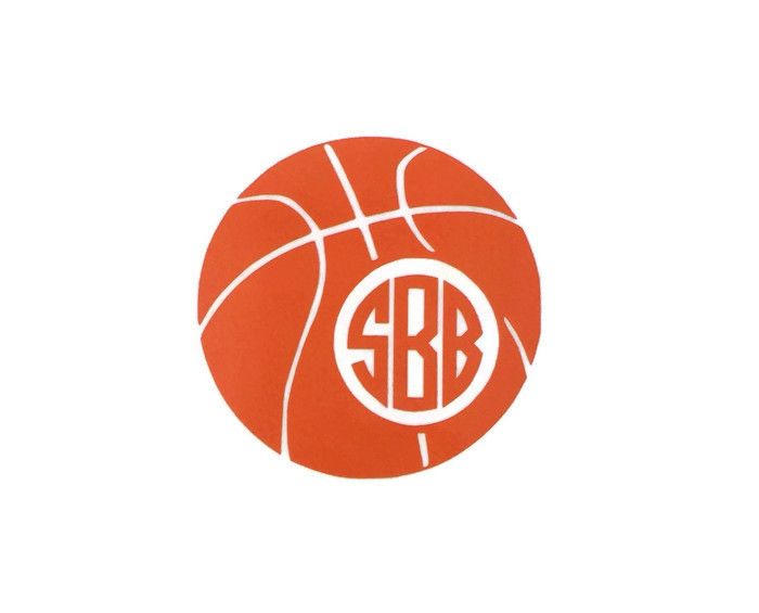 Basketball monogram vinyl decal by the initialed life