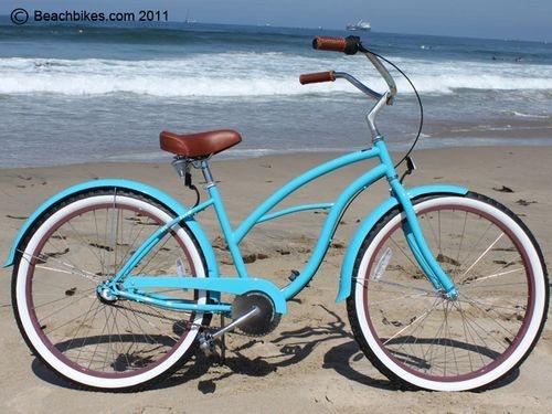 Turquoise beach cruiser bike