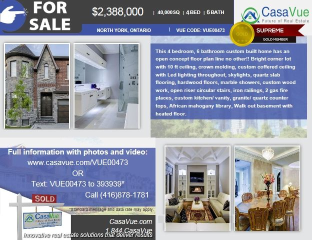 #homeforsale 4000 SqFt 4-bed 6-bath $2,300,000 #NorthYork #Toronto #Ontario #realestate More:http://bit.ly/1oE7c4o  This 4 bedroom, 6 bathroom custom built home has an open concept floor plan line no other!! Bright corner lot with 10 ft ceiling, crown molding, custom c offered ceiling with Led lighting throughout, skylights, quartz slab flooring, hardwood floors, marble showers, custom wood work, open riser circular stairs, iron railings, 2 gas fire places, custom kitchen/ vanity