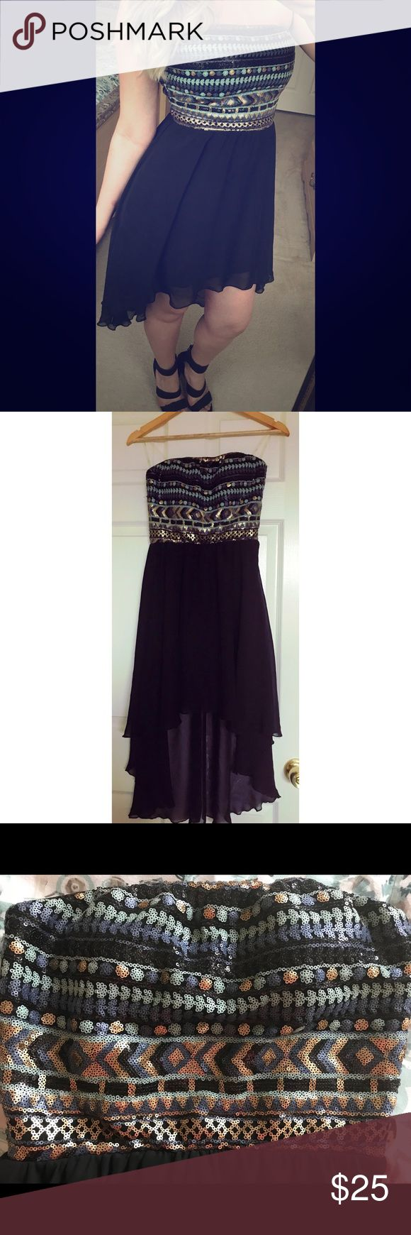 Aztec sequence dress Beautiful night out strapless dress. The bottom flows so nicely. It's a high to low dress. Worn once. Charlotte Russe Dresses High Low