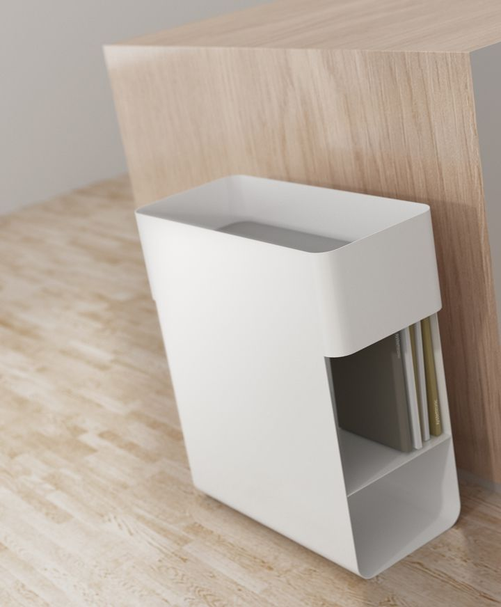 Beside table and storage unit, design by enblanc for Systemtronic