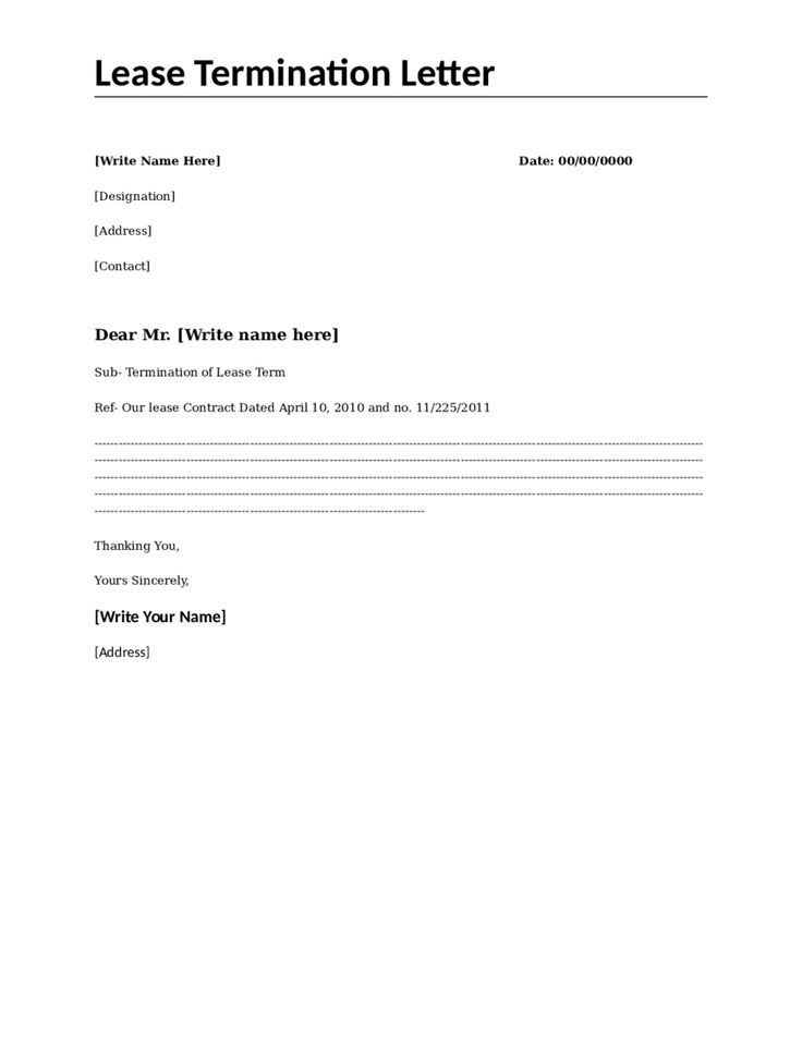 lease termination letter sample template vehicle hashdoc