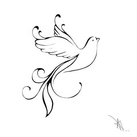 this is less a dove... could work and I love the swirls on the ends. If the swirls could be turned into either a word (hope) or maybe even merging a cross into it...