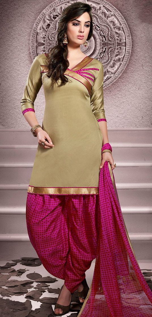 USD 20.13 Beige Cotton Patiala Salwar Kameez 43455