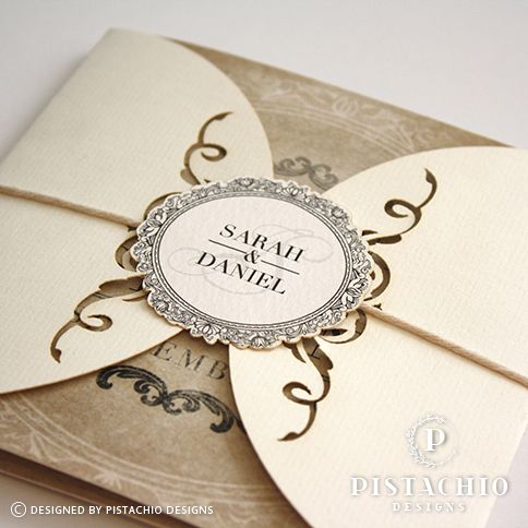 Vintage wrap wedding invitation with one fold card made by www.pistachiodesigns.co.za