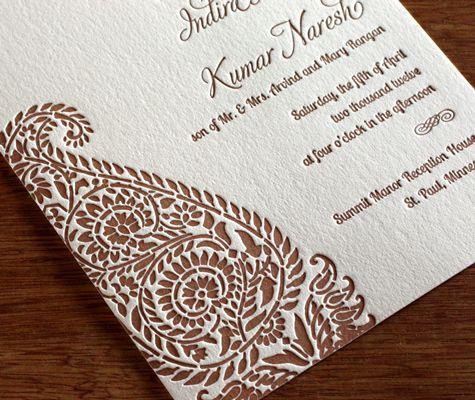 Indira letterpress wedding invitation design