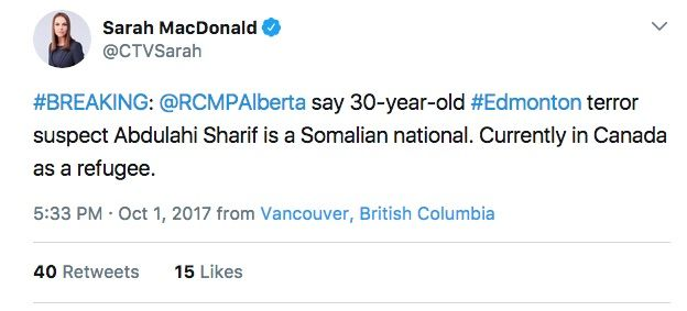 Edmonton jihadi Abdulahi Sharif is Somalian national, currently in Canada as a REFUGEE