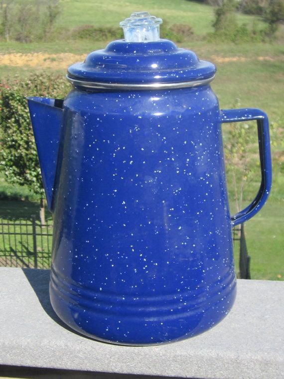 Navy Blue Enamelware Coffee Pot Perculator 1950's op Etsy, 18,77 €