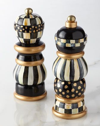 Courtly Check Salt & Pepper Mill Set by MacKenzie-Childs at Neiman Marcus.