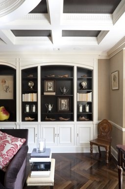quick fix for tradional style bookshelves paint the inside and each shelf or line back with mat board