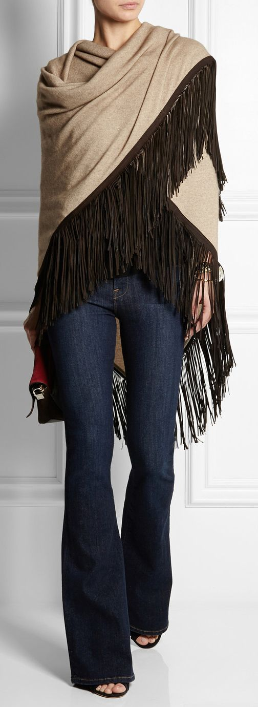leather-fringed cashmere shawl by Finds: