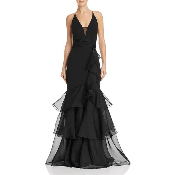 Aidan Mattox Tiered-Ruffle Crepe Gown ($495) ❤ liked on Polyvore featuring dresses, gowns, black, aidan mattox gown, aidan mattox evening dresses, frill dress, ruffle dress and aidan mattox dress