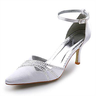 topkwaliteit satijn bovenste hoge hakken gesloten tenen met strass huwelijk bruids schoenen – EUR € 36.35