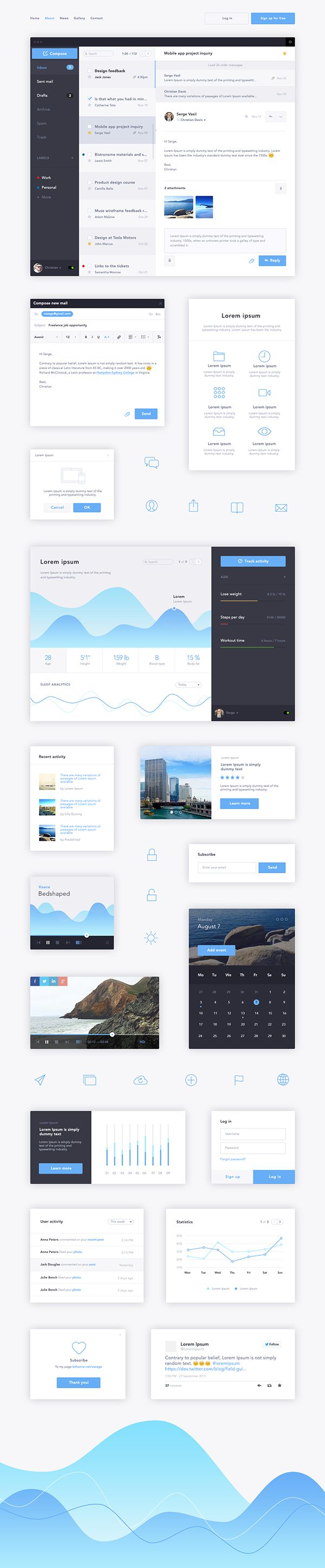Flat Blue UI Kit on Behance
