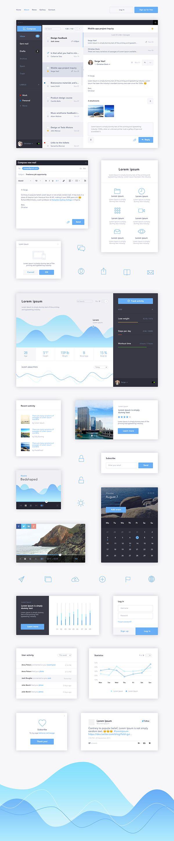 Flat Blue UI Kit on Behance