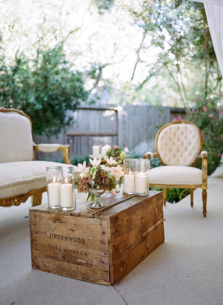 Most Romantic Backyard Houston Wedding - MODwedding rustic wedding lounge area