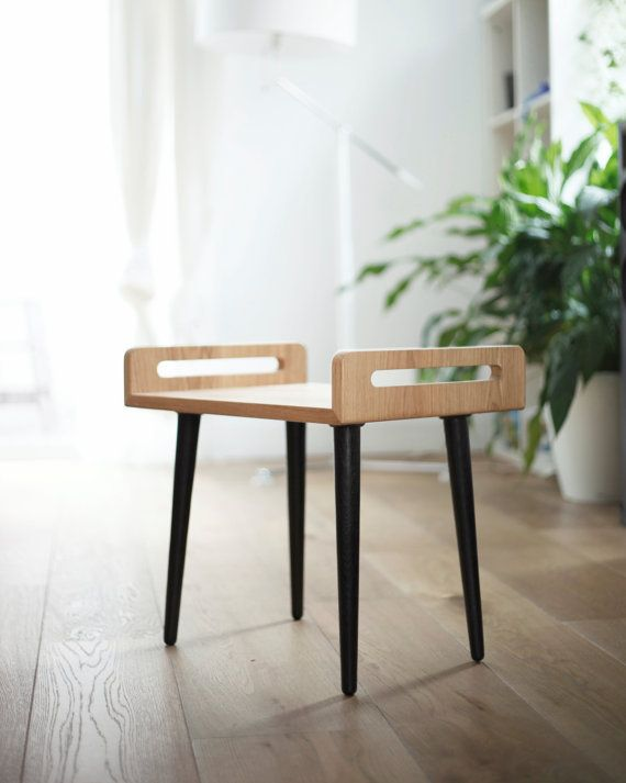 NEW!!  wooden Stool / tray / bench made on solid oak board and oak legs