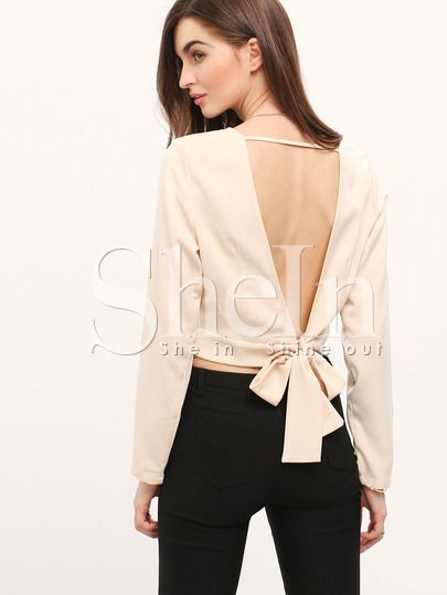 Shop Apricot V Back Crop Blouse online. SheIn offers Apricot V Back Crop Blouse & more to fit your fashionable needs.