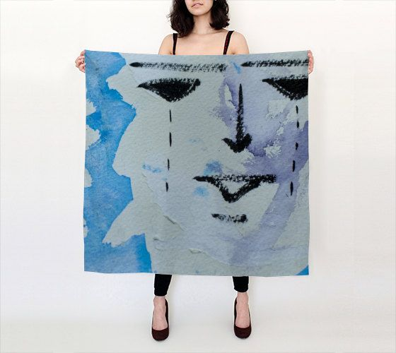 """Ort Watercolour  36""""X 36"""" Large Square Silk Scarf by LOVEMIZU on Etsy"""
