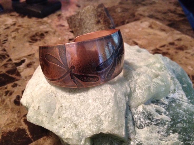 SOLD.Beautiful copper cuff dragonfly bracelet.