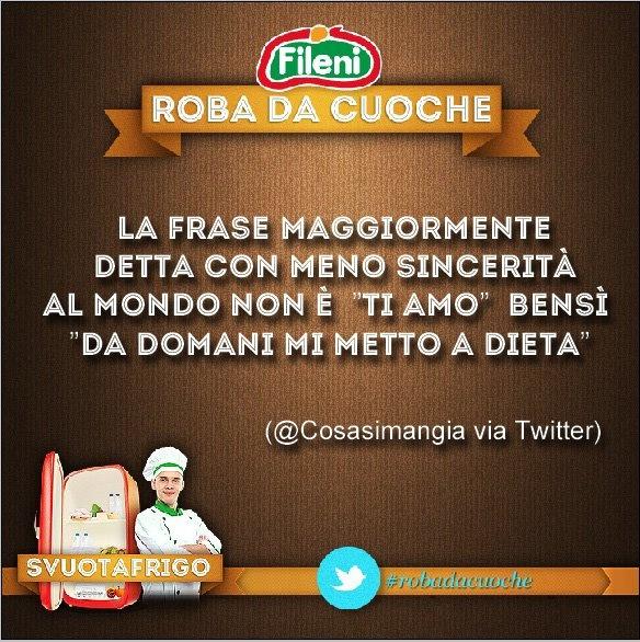 """La frase detta con meno sincerità al mondo non è """"ti amo"""" bensì """"da domani mi metto a dieta"""" (@Coral si mangia via Twitter) #robadacuoche #ricette #cibo #cucina - Segui #Fileni anche su Twitter: @Fileni_Official"""