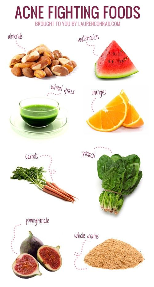 Acne-fighting Foods. Believe it! Every time I stop eating whole grains I break out.