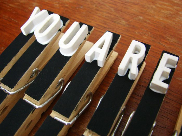 You Are Awesome clothespins project.. would be cute for a kids alphabet