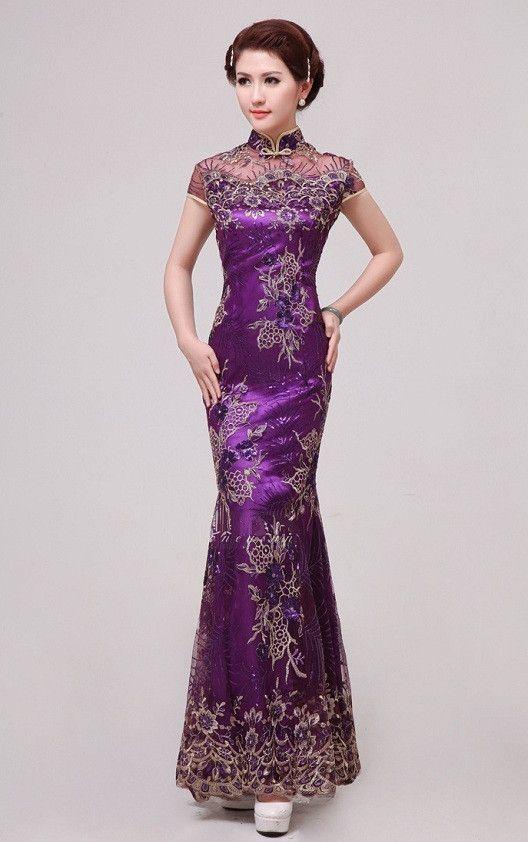 Mermaid Silhouette Lace Cheongsam Gown Evening Banquet Fishtail