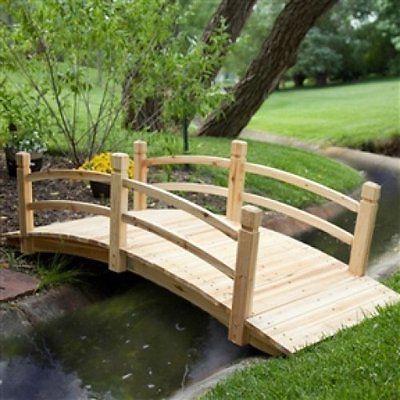 Classic 6-Ft Garden Bridge in Unfinished Fir Wood